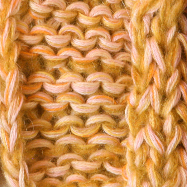 Gold marled shawl wrap mohair cotton chunky knit Wrapture by Inese Iris Liepina