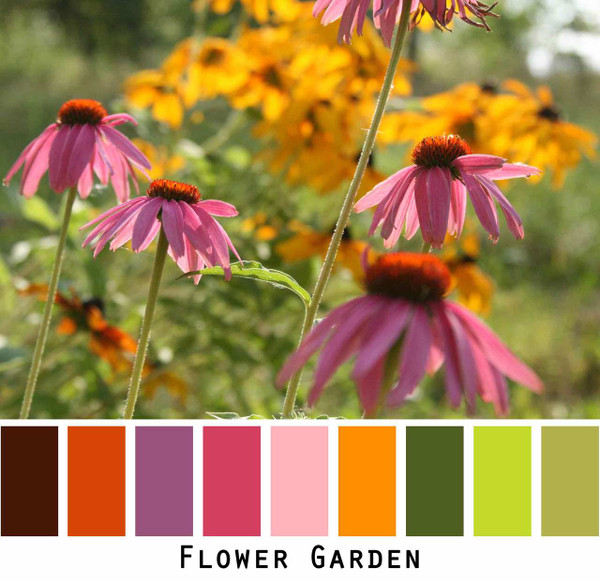 Flower Garden bright pink red orange green flower garden photograph by Inese iris Liepina
