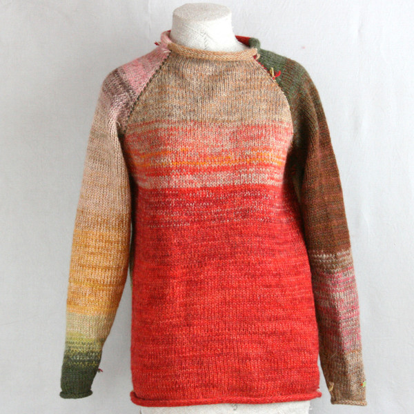 Red Rose Hips reversible unisex raglan pullover sweater on a dress form