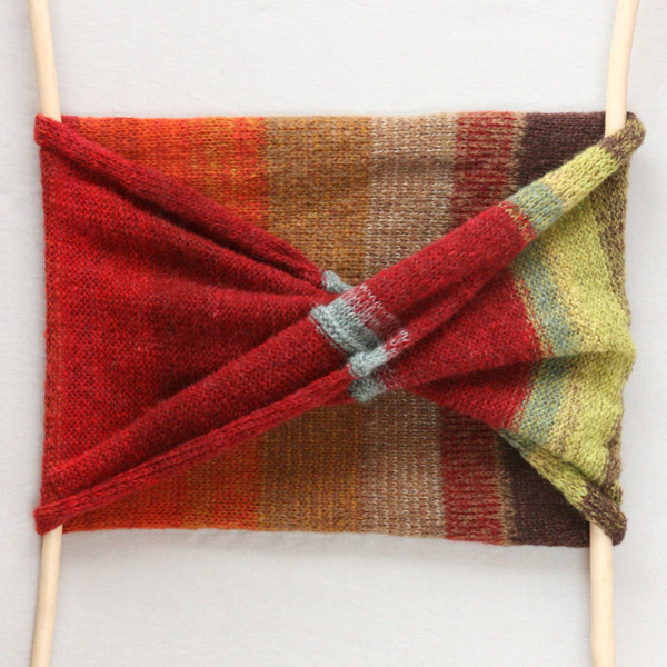 Hawthorn red, green and brown mohair silk loop scarf Wrapture by Inese
