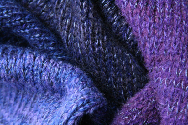 Pansies Liene Sweater Coat purple knitting detail closeup of Ineses unique way of blending colors in her knits.