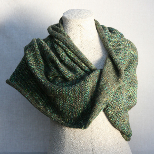 green Oak tree inspired marled shawl wrap mohair cotton chunky knit Wrapture by Inese Iris Liepina on dress form