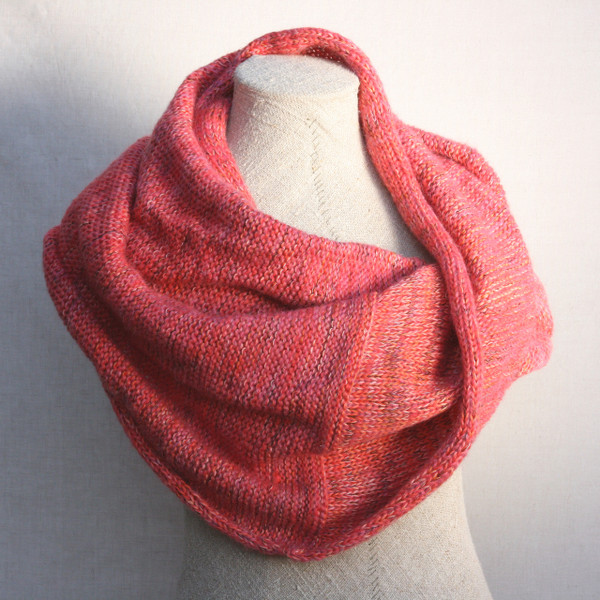 Pink Neon marled shawl wrap mohair cotton chunky knit shawl wrap on dress form knit by Inese for Wrapture by Inese