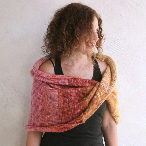 Mosaic Sun shawl wrap worn and knit by Inese for Wrapture by Inese in gold pink lavender rose brown