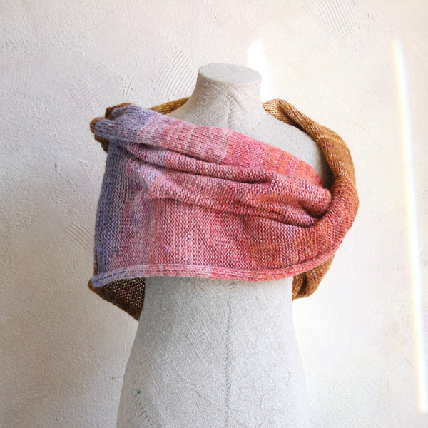 Mosaic Sun shawl wrap on dress form knit by Inese for Wrapture by Inese in gold pink lavender rose brown