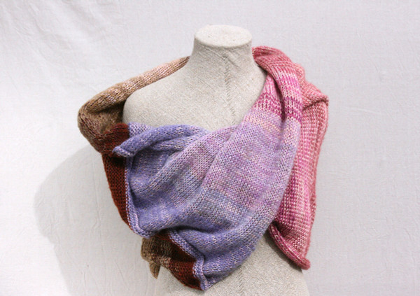 Hydrangea shawl wrap on dress form knit by Inese for Wrapture by Inese in lavender brown pink
