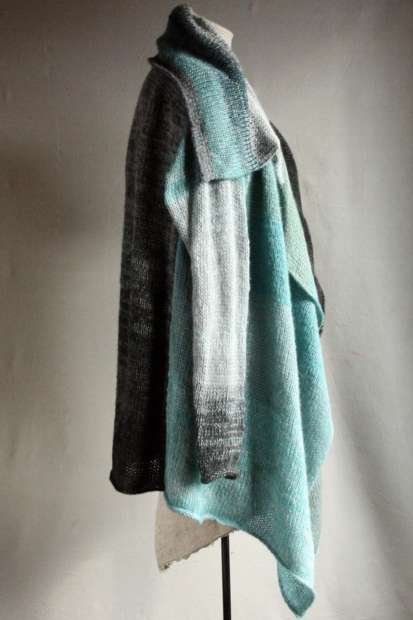 Glacier Blue Annie long cardigan wrap sweater coat on dress form, side view knit in blue charcoal grey black teal silver by Wrapture by Inese