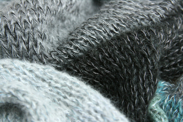 Glacier Blue Annie long cardigan wrap sweater coat closeup detail of knitting with blue charcoal grey black teal silver Wrapture by Inese