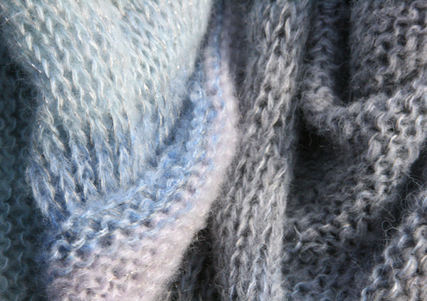 pale pastel blues and greys colors in detail of knitting First Frost Morning loop scarf mohair silk knit Wrapture by Inese Iris Liepina