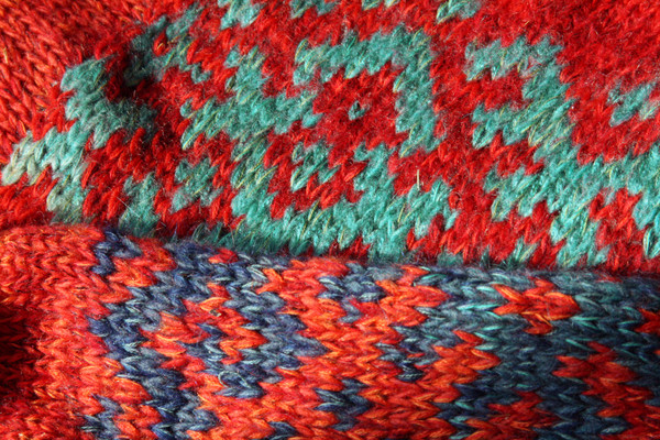 Uguns un Nakts Latvian symbols sweater size L detail of pattern knitting