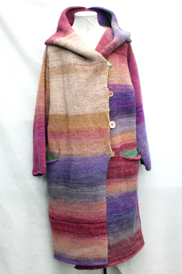One of a kind felted wool coat knit by Inese with colors inspired by Purple Avens or Bitene flowers. Size M , shown on dress form with shawl collar buttoned into a snug collar cowl.