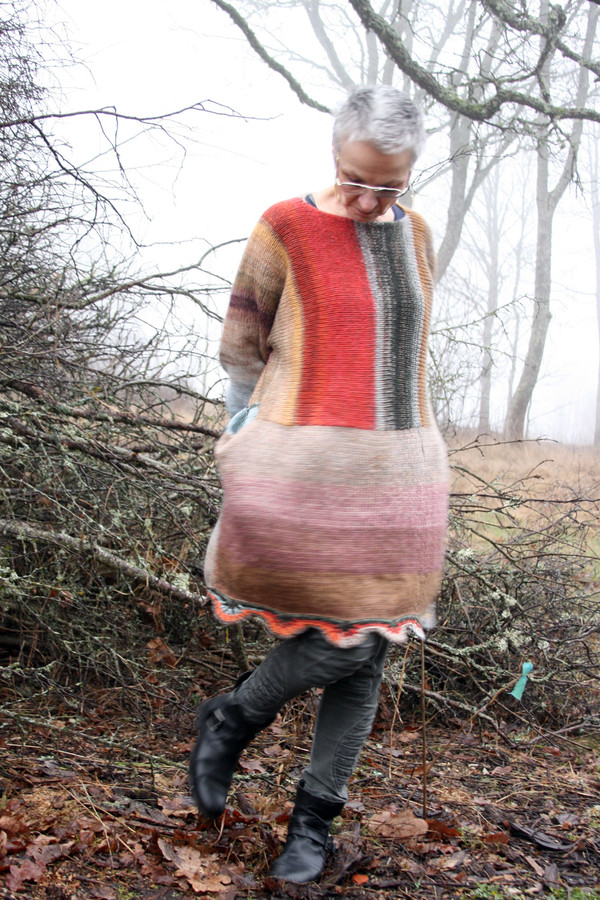 warehouse color way of Oversized chunky knit sweater dress OS one of a kind wool kid mohair cotton silk hand crochet edge, Wrapture by Inese on model who is a size S with ancient oak branches in background