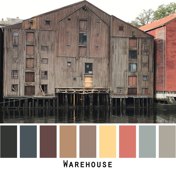 Warehouse in historic Trondheim, Norway photographed by Inese Iris Liepina and made into a color card for custom ordering from Wrapture by Inese