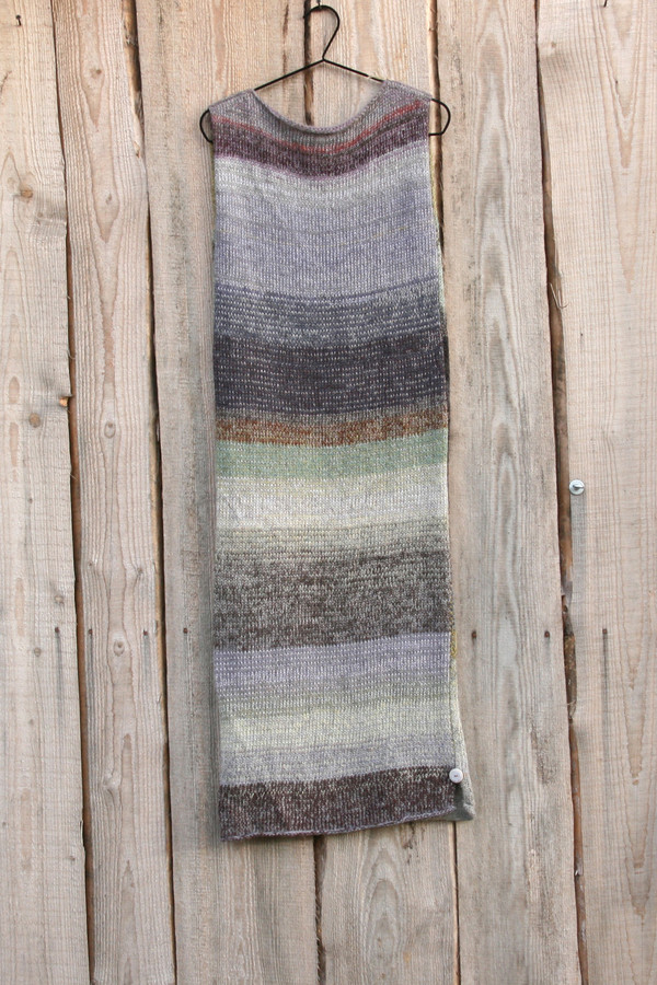 size S Grey Leaves colored random ombre stripe calf length tank dress on hanger with woodshed background