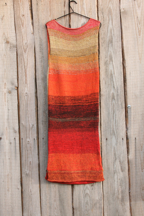 size S Sumac in autumn inspired random ombre stripe calf length tank dress on hanger with woodshed background