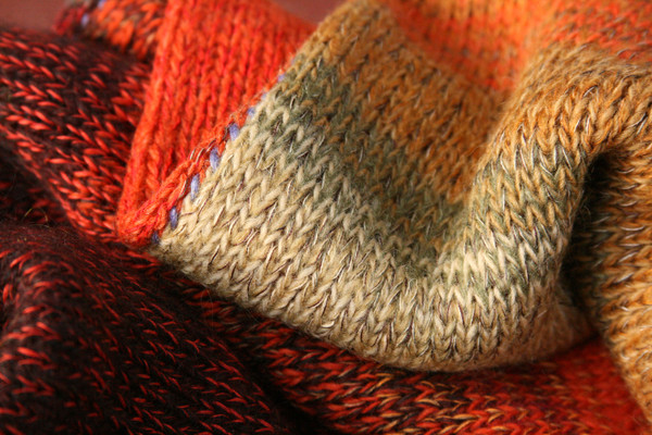 detail of ombre color change in knit Sumac dress, knit by Inese Iris Liepina of Wrapture by Inese