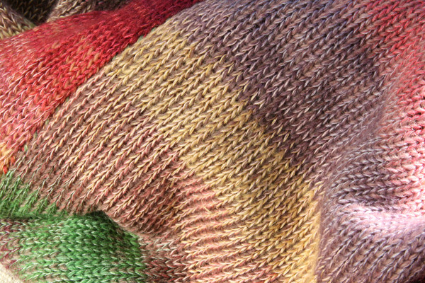 detail of ombre color change and contrast stitching in knit Bitene dress, knit by Inese Iris Liepina of Wrapture by Inese
