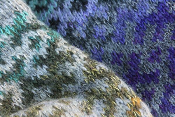 Heather Grey Latvian symbols sweater size L detail of pattern knitting
