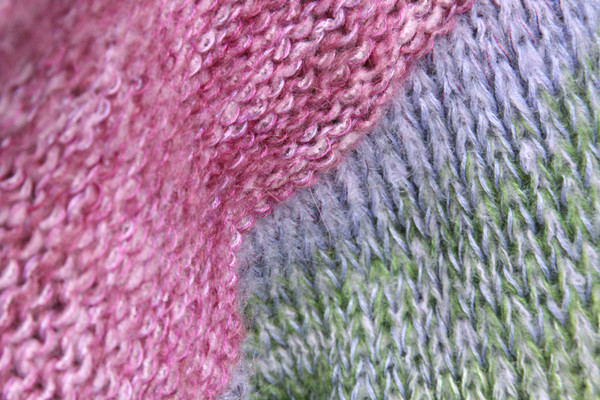 closeup detail of knitting of Lilac Buds X-tee from Wrapture by Inese
