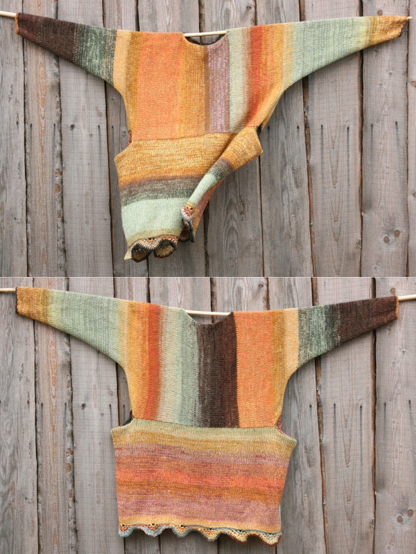 both sides shown in diptych Ancient Woods inspired scalloped hem sweater reversible dress hung on wood pole on side of woodshed, purl side out, knit by Wrapture by Inese