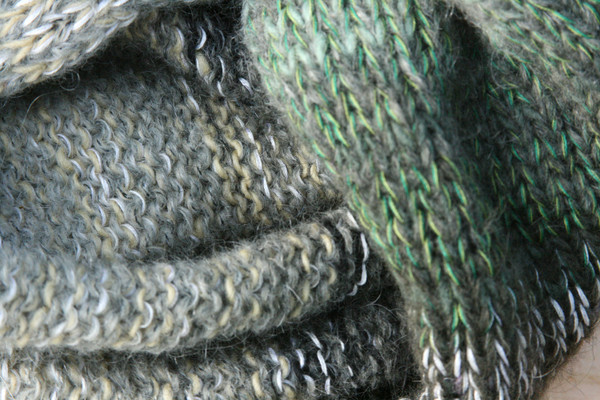 Forest Greens color way closeup of knitting detail of snood cowl knit by Wrapture by Inese