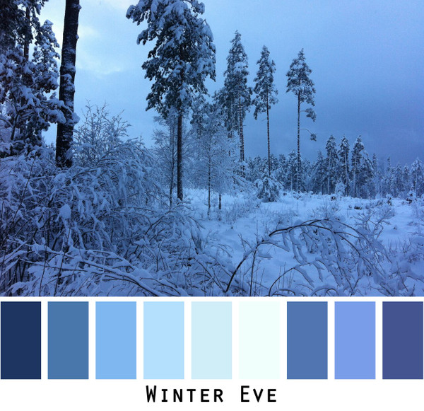 Winter Eve color card made from a photo by Inese Iris Liepina for special ordering from Wrapture by Inese