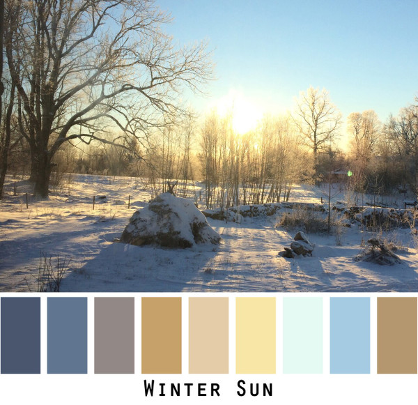 Winter Sun color card made from a photo by Inese Iris Liepina for special ordering from Wrapture by Inese