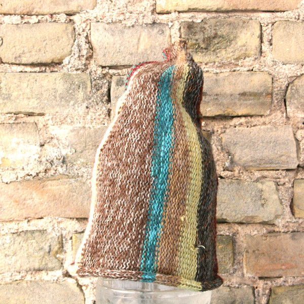 Fjord Rocks striped pixie gnome hat knit with wool, kid mohair, silk, cotton, prewashed, knit by Wrapture by Inese