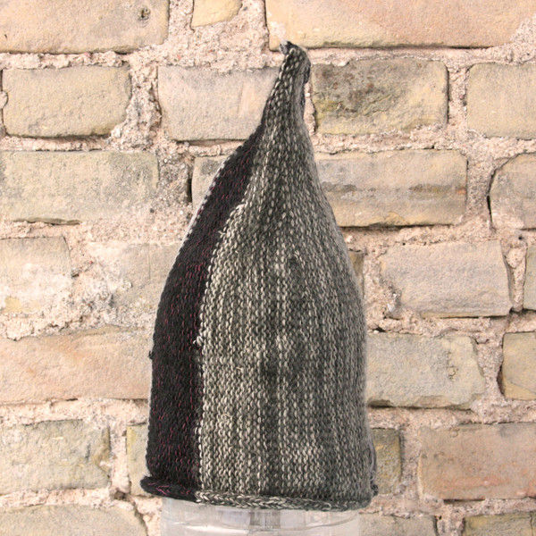 Heather Grey striped pixie gnome hat knit with wool, kid mohair, silk, cotton, prewashed, knit by Wrapture by Inese