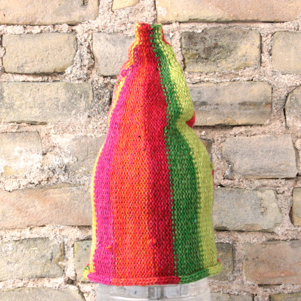 Melon striped pixie gnome hat knit with wool, kid mohair, silk, cotton, prewashed, knit by Wrapture by Inese