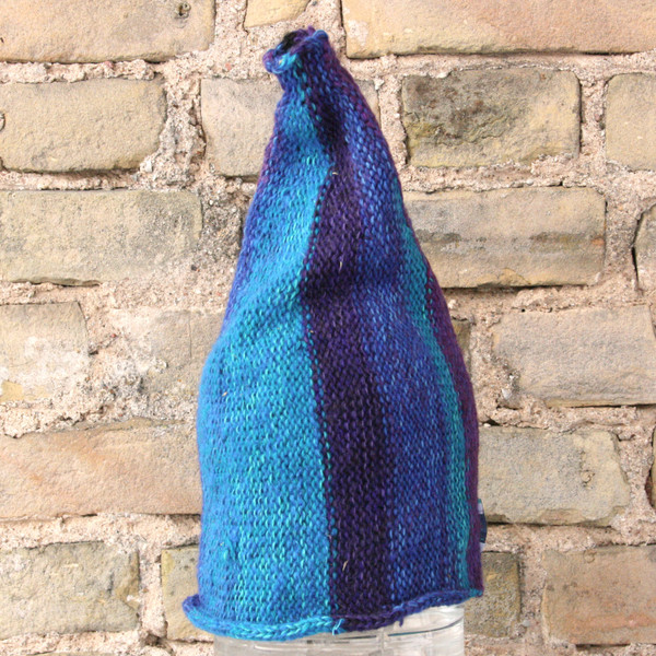 Midnight striped pixie gnome hat knit with wool, kid mohair, silk, cotton, prewashed, knit by Wrapture by Inese