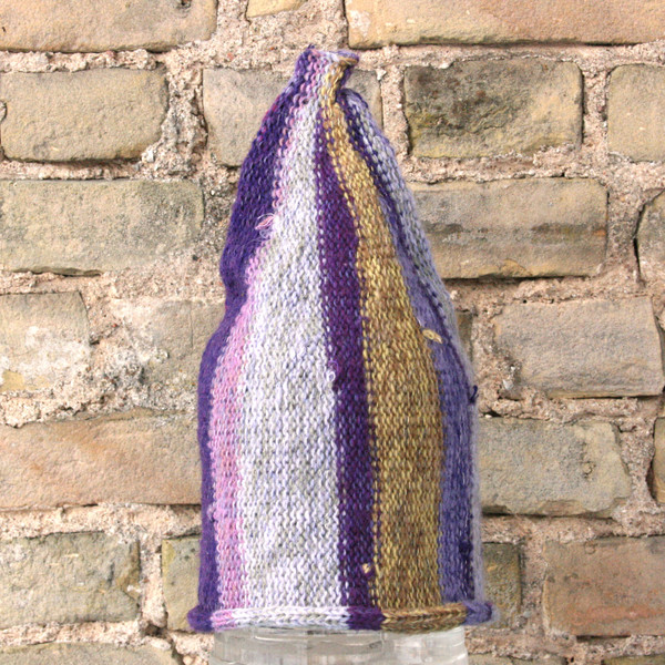 Purple Haze striped pixie gnome hat knit with wool, kid mohair, silk, cotton, prewashed, knit by Wrapture by Inese