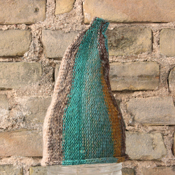 Lichen kids or XS adult striped pixie gnome hat knit with wool, kid mohair, silk, cotton, prewashed, Wrapture by Inese