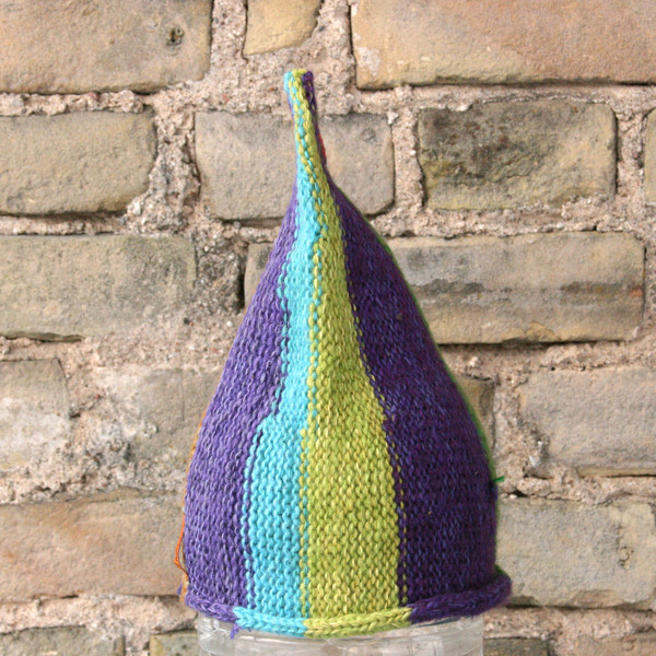Carnival striped pixie gnome hat knit by Inese for Wrapture by Inese from wool, cotton silk and kid mohair, prewashed