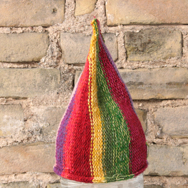 Flower Pot kids or XS adult striped pixie gnome hat knit with wool, kid mohair, silk, cotton, prewashed, Wrapture by Inese