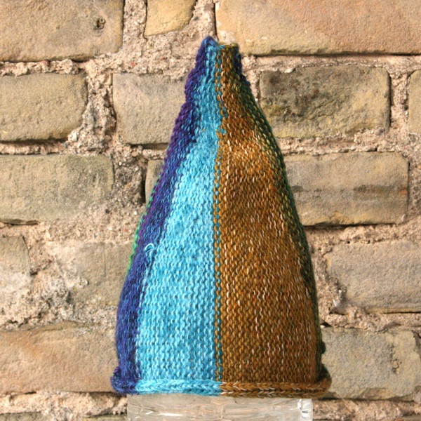 Kelp Forest kids or XS adult striped pixie gnome hat knit with wool, kid mohair, silk, cotton, prewashed, Wrapture by Inese