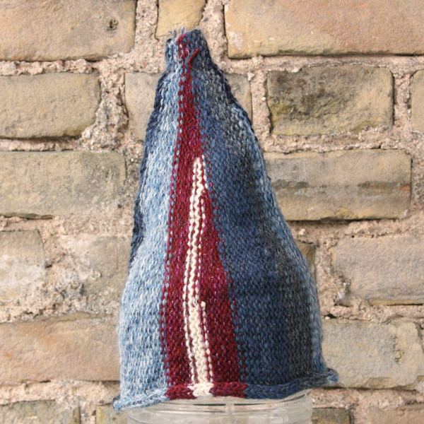 Latvia Day kids or XS adult striped pixie gnome hat knit with wool, kid mohair, silk, cotton, prewashed, Wrapture by Inese