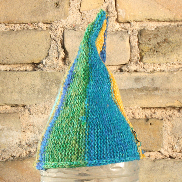 Aquarium baby 1-3 years striped pixie gnome hat knit with wool, kid mohair, silk, cotton, prewashed, Wrapture by Inese