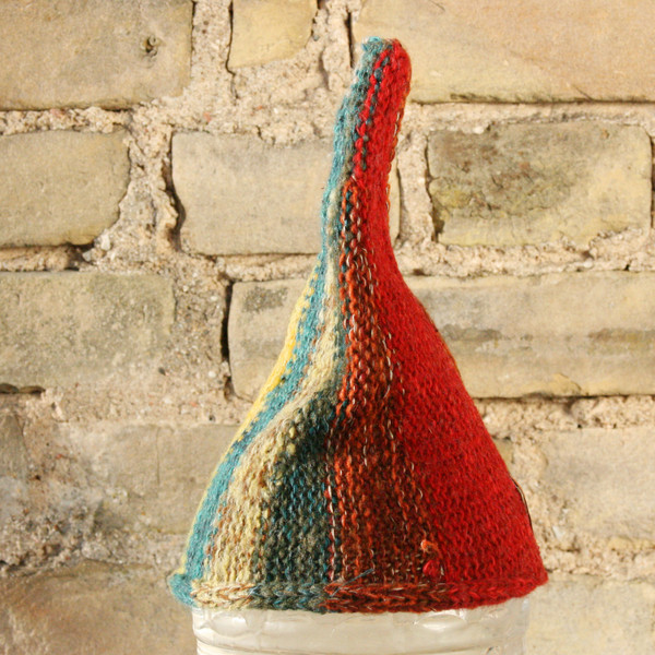 Apple Tree baby 1-3 years striped pixie gnome hat knit with wool, kid mohair, silk, cotton, prewashed, Wrapture by Inese