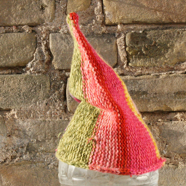 Berries baby 1-3 years striped pixie gnome hat knit with wool, kid mohair, silk, cotton, prewashed, Wrapture by Inese