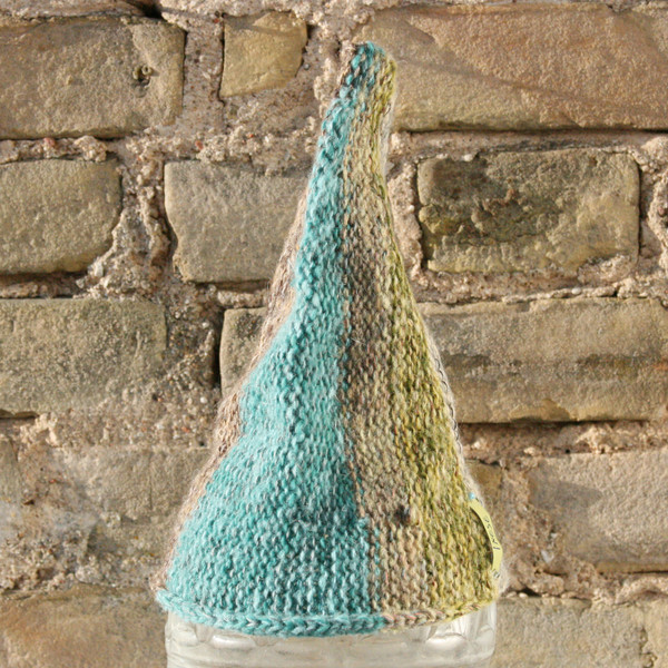 Fjord baby 1-3 years striped pixie gnome hat knit with wool, kid mohair, silk, cotton, prewashed, Wrapture by Inese