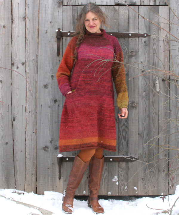 Roll neck aline sweater dress as knit and worn by Inese Iris Liepina