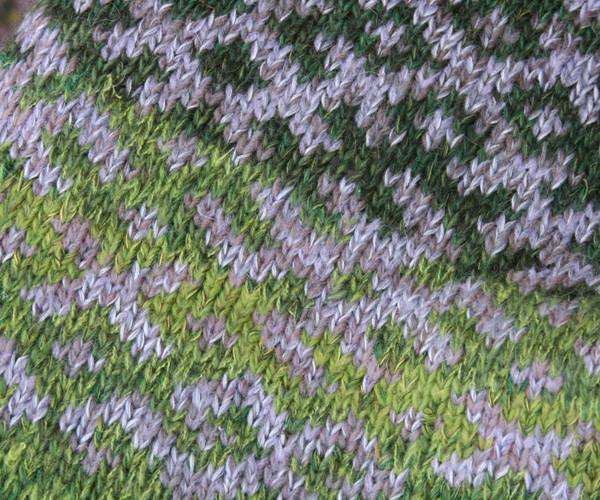 Oak Green Latvian symbols sweater detail of pattern knitting