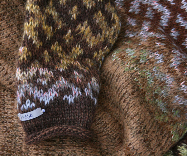 Chocolate Brown inspired Latvian symbols sweater detail of pattern knitting
