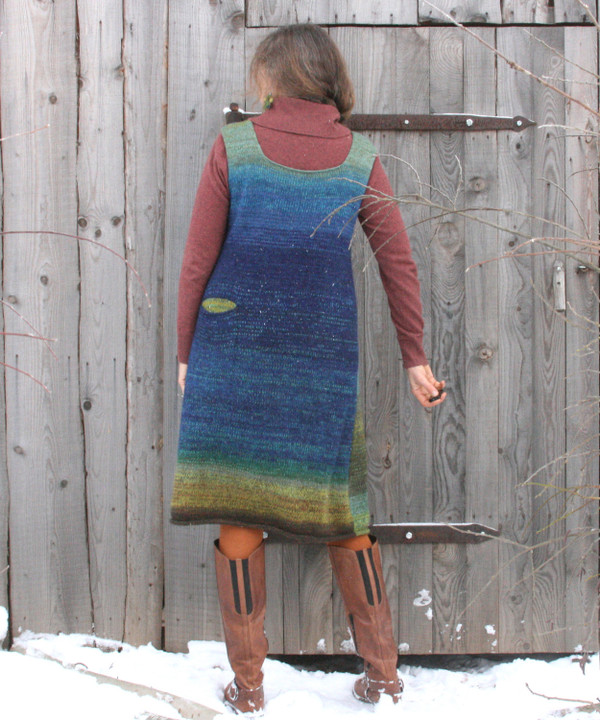 A-line sarafan dress as modeled by Inese Iris Liepina who knit it for Wrapture