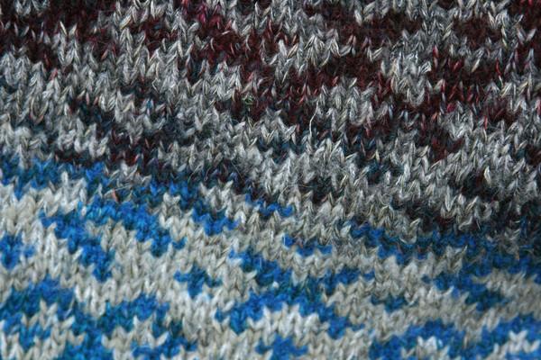 Rocky Beach Latvian symbols sweater detail of pattern knitting