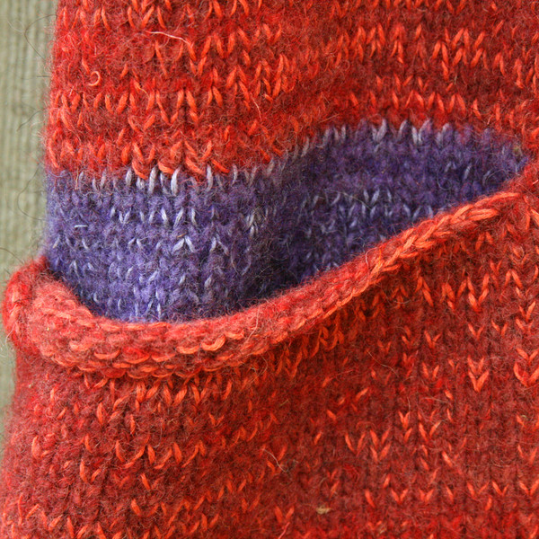 closeup detail of pocket on Sumac inspired felted boiled wool coat
