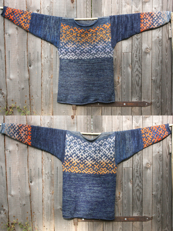 Denim Sunset XL reversible Latvian symbols sweater in double photo hung flat on a wooden wall showing both sides, knit by Wrapture by Inese