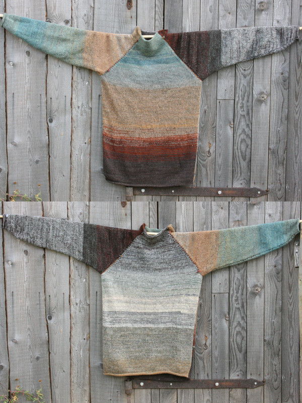 Rock Face reversible unisex raglan pullover showing both sides in a double photograph where the sweater is hung on a wood shed, designed and knit by Wrapture by Inese