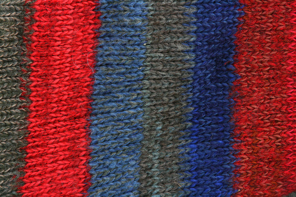 Maasai closeup of knitting detail showing how Inese does her unique color blends